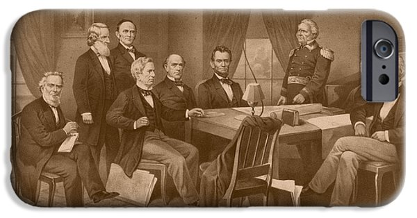 Lincoln iPhone Cases - President Lincoln - His Cabinet and General Scott iPhone Case by War Is Hell Store