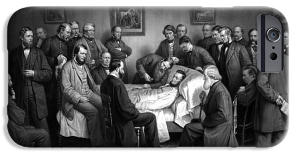 Proclamation iPhone Cases - President Lincolns Deathbed iPhone Case by War Is Hell Store