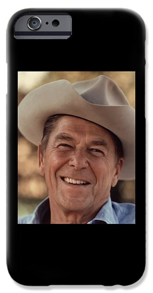 United Paintings iPhone Cases - President Ronald Reagan iPhone Case by War Is Hell Store