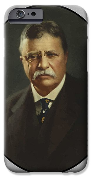 United Paintings iPhone Cases - President Theodore Roosevelt  iPhone Case by War Is Hell Store