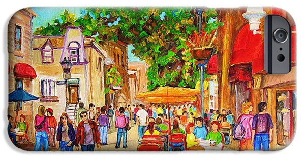 Montreal Storefronts Paintings iPhone Cases - Prince Arthur Street Montreal iPhone Case by Carole Spandau