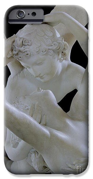 Statue iPhone Cases - Psyche Revived by the Kiss of Cupid iPhone Case by Antonio Canova