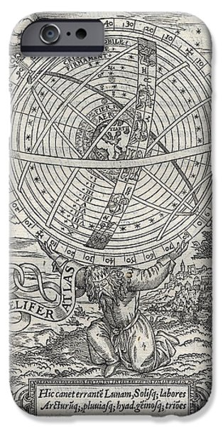 Heavenly Body iPhone Cases - Ptolemaic System, Geocentric Model, 1531 iPhone Case by Folger Shakespeare Library