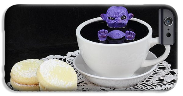 Michael Sculptures iPhone Cases - Purple fairy in a Teacup iPhone Case by Michael Palmer