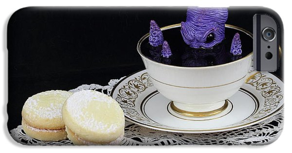 Michael Sculptures iPhone Cases - Purple Octopus in a Teacup iPhone Case by Michael Palmer