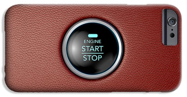 Technology iPhone Cases - Push To Start Red Leather Button iPhone Case by Allan Swart