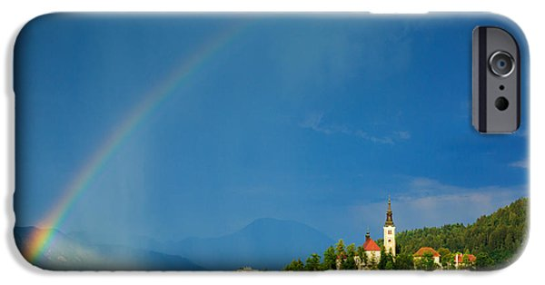 Mist iPhone Cases - Rainbow over Lake Bled iPhone Case by Ian Middleton
