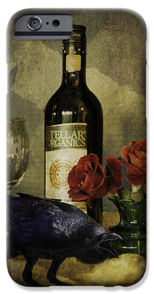 Wine Bottles iPhone Cases - The Ravens Table iPhone Case by Sandra Selle Rodriguez