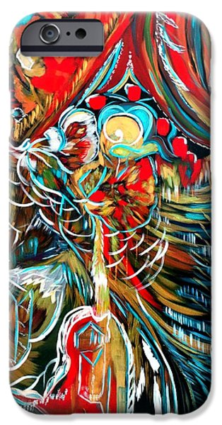 House Tapestries - Textiles iPhone Cases - Red iPhone Case by Agnes BARRAUD