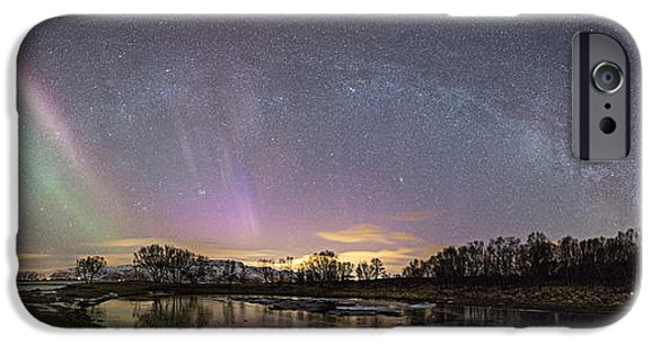 3.14 iPhone Cases - Red and green Auroras iPhone Case by Frank Olsen