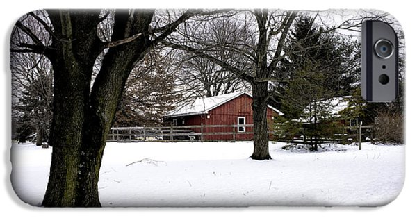 Red Barn In Winter iPhone Cases - Red Barn in Winter iPhone Case by John Rizzuto