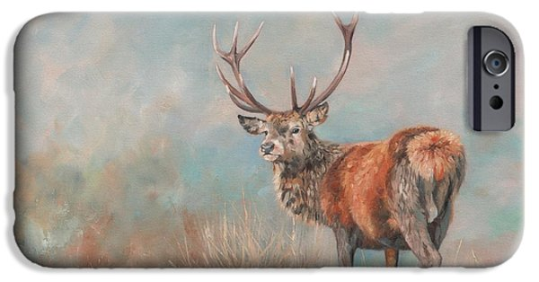 Mist iPhone Cases - Red Deer Stag iPhone Case by David Stribbling