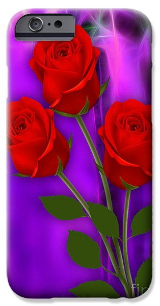 Flower iPhone Cases - Red Roses Collection iPhone Case by Marvin Blaine