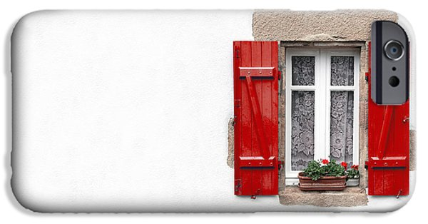 Copy iPhone Cases - Red shuttered window on white iPhone Case by Jane Rix