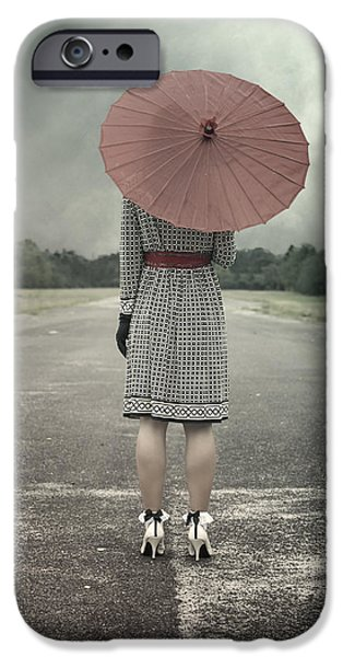60s Photographs iPhone Cases - Red Umbrella iPhone Case by Joana Kruse