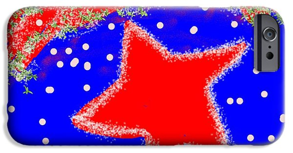 4th July Digital Art iPhone Cases - Red White and Blue iPhone Case by Dotti Hannum