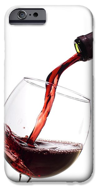 Red Wine iPhone Cases - Red Wine Poured into Wineglass iPhone Case by Dustin K Ryan