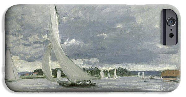 Sailing Paintings iPhone Cases - Regatta at Argenteuil iPhone Case by Claude Monet