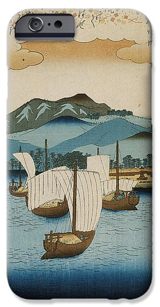 Harbor Drawings iPhone Cases - Returning Sails at Yabase iPhone Case by Hiroshige