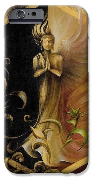 Yin Paintings iPhone Cases - Revelation and Enlightenment iPhone Case by Dina Dargo