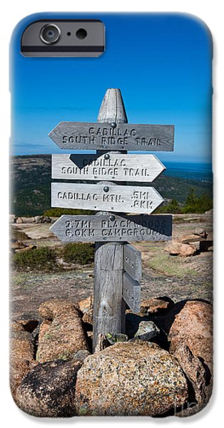 Maine iPhone Cases - Ridge Trail Signpost Acadia National Park iPhone Case by Jason O Watson