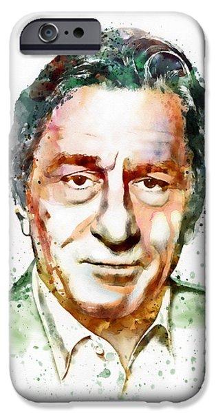 Celebrities Art iPhone Cases - Robert De Niro watercolor iPhone Case by Marian Voicu