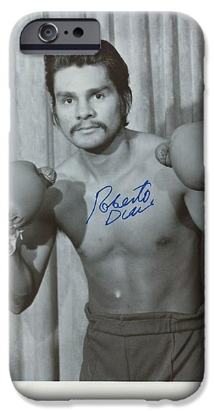 Roberto Paintings iPhone Cases - Roberto Duran 2 iPhone Case by Dennis ONeil