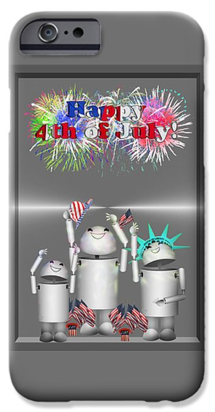 Old Glory iPhone Cases - Robo-x9 Celebrates Freedom iPhone Case by Gravityx9  Designs
