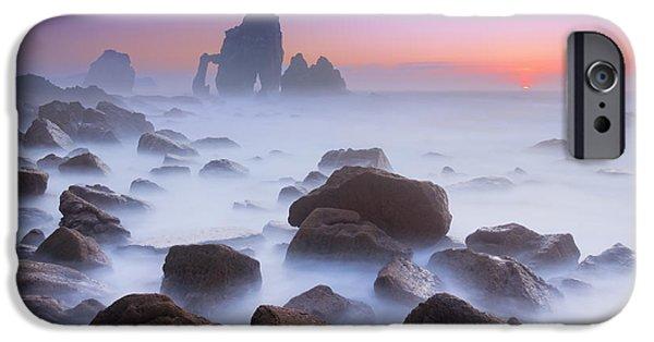 Cathedral Rock iPhone Cases - Rocks In San Juan De Gaztelugatxe iPhone Case by Mikel Martinez de Osaba