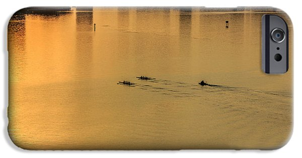 Village iPhone Cases - Rowing under the sunrise iPhone Case by Satoshi Kina