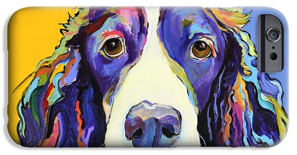 Animal Paintings iPhone Cases - Sadie iPhone Case by Pat Saunders-White
