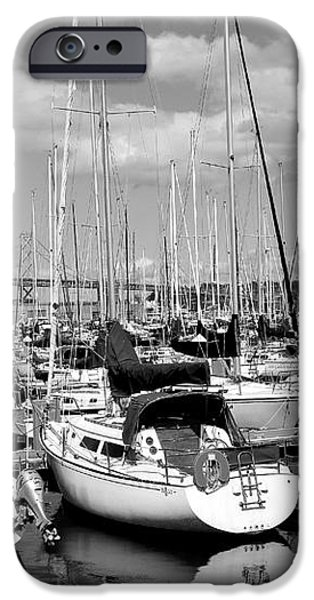 Sail Boats at San Francisco China Basin Pier 42 With The Bay Bridge in The Background . 7D7666 iPhone Case by Wingsdomain Art and Photography