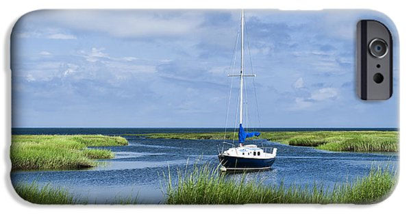 Salt Marsh. New England iPhone Cases - Sailboat Salt Marsh iPhone Case by John Greim