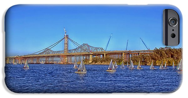 Sailboats iPhone Cases - Sailing Near The San Francisco - Oakland Bay Bridge iPhone Case by Mountain Dreams