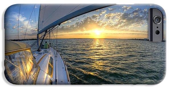 Sailboat iPhone Cases - Sailing Sunset Charleston SC Beneteau 49 iPhone Case by Dustin K Ryan