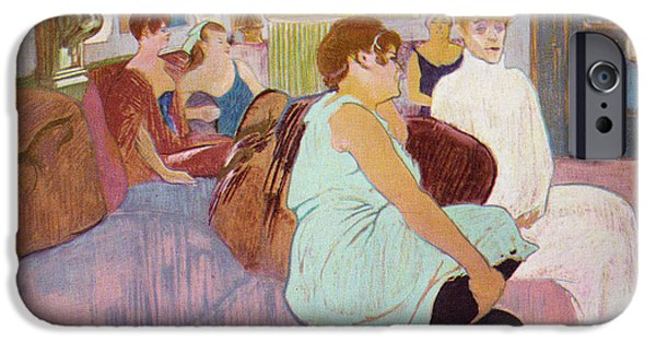 Prostitution Paintings iPhone Cases - Salon in the Rue Des Moulins  iPhone Case by Toulouse Lautrec