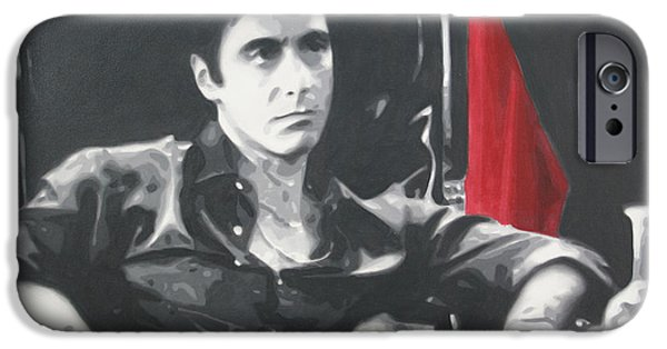 Oliver Stone iPhone Cases - Scarface iPhone Case by Luis Ludzska