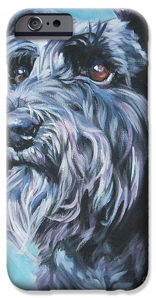 Black Dog iPhone Cases - Schnauzer iPhone Case by Lee Ann Shepard
