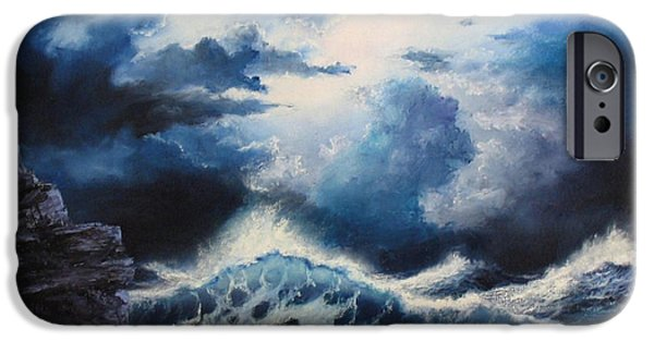 Sunset Reliefs iPhone Cases - Sea Storm iPhone Case by John Cocoris