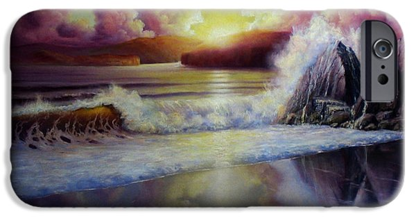 Sunset Reliefs iPhone Cases - Seascape Sunset iPhone Case by John Cocoris