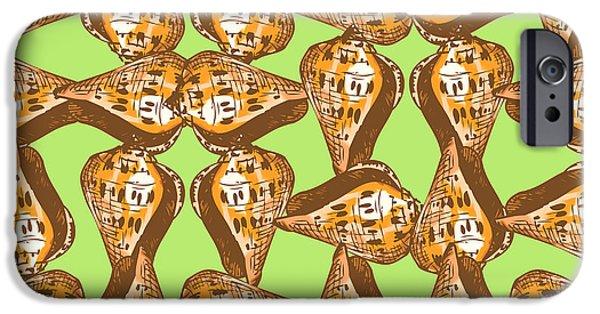 Graphic Design iPhone Cases - Seashells pattern iPhone Case by Gaspar Avila