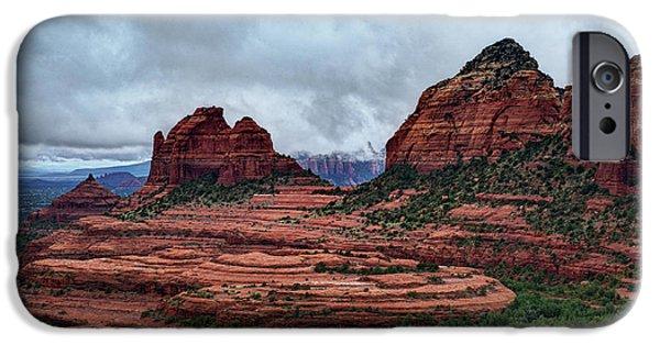 Sedona iPhone Cases - Sedona Red Rocks Rain  iPhone Case by Saija  Lehtonen