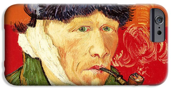 ist Self Portrait Paintings iPhone Cases - Self Portrait with Bandaged Ear and Pipe iPhone Case by Vincent van Gogh