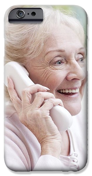 Senior Adult iPhone Cases - Senior Woman Talking On The Telephone iPhone Case by