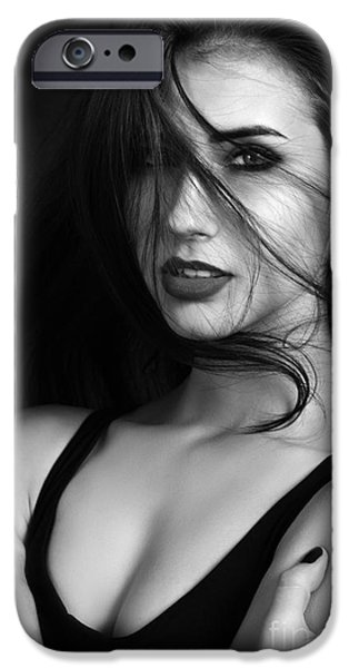 Cut-outs iPhone Cases - Sensual Girl iPhone Case by Aleksey Tugolukov