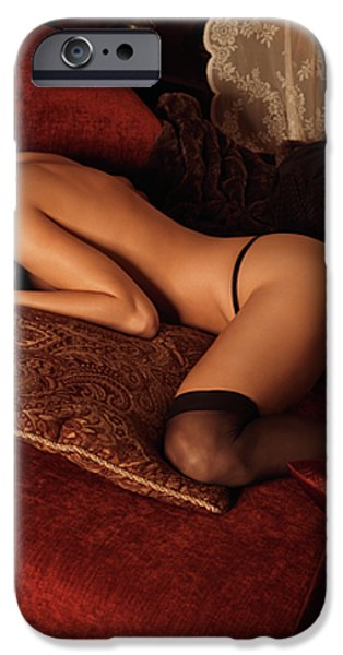 Sexy Young Woman Lying on a Bed iPhone Case by Oleksiy Maksymenko