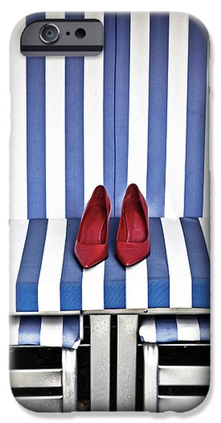 Beach Chair iPhone Cases - Shoes In A Beach Chair iPhone Case by Joana Kruse