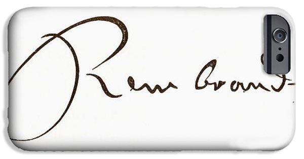 Rembrandt Drawings iPhone Cases - Signature Of Rembrandt Harmenszoon Van iPhone Case by Ken Welsh