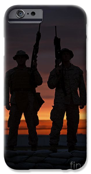 Afghanistan iPhone Cases - Silhouette Of U.s Marines On A Bunker iPhone Case by Terry Moore