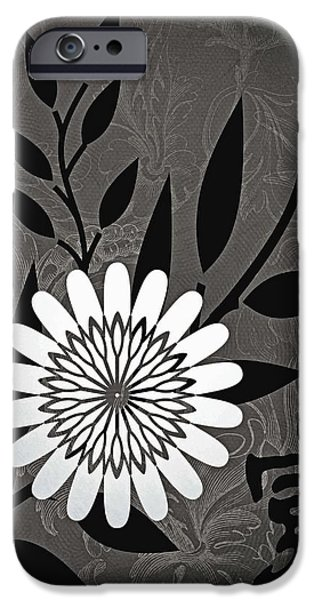 Nature Abstract iPhone Cases - Simple White Flower iPhone Case by Kathy Franklin